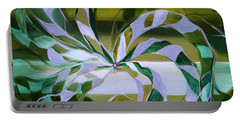 Focus - Abstract In Green And Yellow Portable Battery Charger