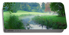 Fog Along A Creek In Autumn Portable Battery Charger