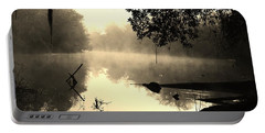 Fog And Light In Sepia Portable Battery Charger