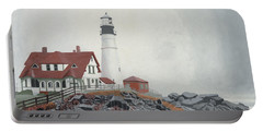 Portable Battery Charger featuring the painting Fog Approaching Portland Head Light by Dominic White