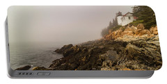 Portable Battery Charger featuring the photograph Fog At Bass Harbor Lighthouse by Jeff Folger