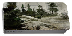 Portable Battery Charger featuring the painting Fog At The Coast by James Williamson