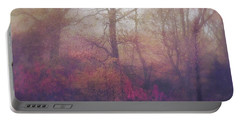 Fog In Autumn Mountain Woods Portable Battery Charger