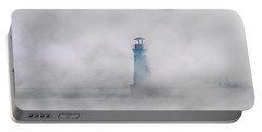 Fog On Cockspur Lighthouse Portable Battery Charger