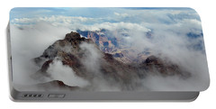 Portable Battery Charger featuring the photograph Fog Shrouded Vishnu Temple  by Gaelyn Olmsted