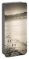 Portable Battery Charger featuring the photograph Foggy Beach Walk by T Brian Jones