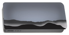 Foggy Black Mountain Range At Dusk Portable Battery Charger