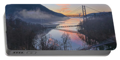 Foggy Dawn At Three Bridges Portable Battery Charger