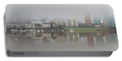 Foggy Day Along Portland Waterfront Panorama Portable Battery Charger