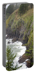 Foggy Evening At Cape Disappointment Portable Battery Charger