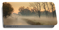 Foggy Fall Morning On Gary Avenue Portable Battery Charger