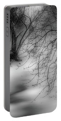 Portable Battery Charger featuring the photograph Foggy Feeder by Kendall McKernon