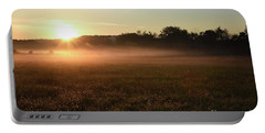 Foggy Field At Sunrise Portable Battery Charger