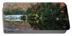 Portable Battery Charger featuring the photograph Foggy Foliage Morning Kinsman Notch by Jeff Folger