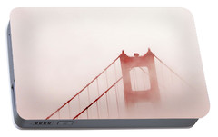 Portable Battery Charger featuring the photograph Foggy Golden Gate by Art Block Collections