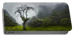 Foggy Highlands Forest Scene Portable Battery Charger