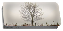 Foggy Lone Tree Hill Portable Battery Charger