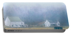 Foggy Morning Farm In West Chester, Pa Portable Battery Charger