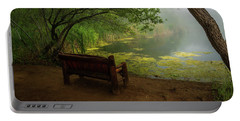 Foggy Morning On The Pond Portable Battery Charger