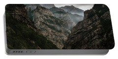 Foggy Mountains Over Neretva Gorge Portable Battery Charger