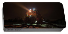 Portable Battery Charger featuring the photograph Foggy Night Train  by Aaron J Groen