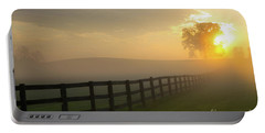 Foggy Pasture Sunrise Portable Battery Charger