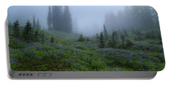 Portable Battery Charger featuring the photograph Foggy Skyline Trail At Mount Rainier by Lynn Hopwood