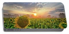 Foggy Yellow Fields Portable Battery Charger