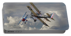 Portable Battery Charger featuring the digital art Fokker Dvll And Se5 Head To Head by Pat Speirs
