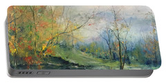 Foliage Flames On The River Portable Battery Charger by Robin Miller-Bookhout