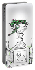 Portable Battery Charger featuring the drawing Foliage Fountain by Mary Ellen Frazee