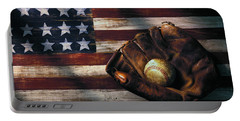 Folk Art American Flag And Baseball Mitt Portable Battery Charger