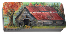 Portable Battery Charger featuring the painting Follow The Lantern - Early Morning Barn- Anne's Barn by Jan Dappen