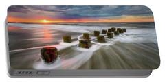 Folly Beach Charleston Sc South Carolina Sunrise Seascape Portable Battery Charger