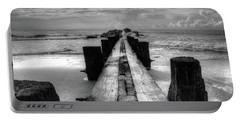 Folly Beach Pilings Charleston South Carolina In Black And White  Portable Battery Charger