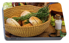 Portable Battery Charger featuring the photograph Food - Bread - Rolls And Rosemary by Mike Savad