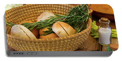 Food - Bread - Rolls And Rosemary Portable Battery Charger by Mike Savad