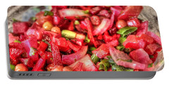 Portable Battery Charger featuring the pyrography Food Salad Tomatoes by Yury Bashkin