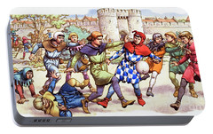 Football In The Middle Ages Portable Battery Charger by Pat Nicolle