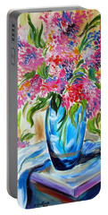 For The Love Of Flowers In A Blue Vase Portable Battery Charger