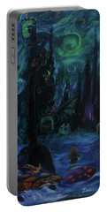 Portable Battery Charger featuring the painting Forbidden Forest by Christophe Ennis