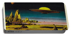 Forbidden Planet In Cinemascope Retro Classic Movie Poster Detailing Flying Saucer Portable Battery Charger