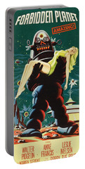 Forbidden Planet In Cinemascope Retro Classic Movie Poster Portraite Portable Battery Charger