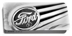 Ford 85 In Black And White Portable Battery Charger by Caitlyn Grasso