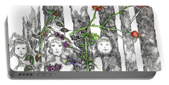 Portable Battery Charger featuring the drawing Forest Faces by Cathie Richardson