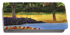Portable Battery Charger featuring the painting Forest Lake by Jamie Frier