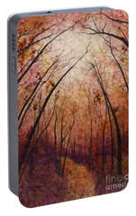 Portable Battery Charger featuring the painting Forest Path by Hailey E Herrera