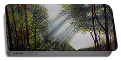 Portable Battery Charger featuring the painting Forest Pathway by Judy Kirouac