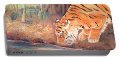 Portable Battery Charger featuring the painting Forest Tiger by Elizabeth Lock