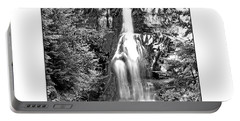 Forest Waterfall In Bw Portable Battery Charger